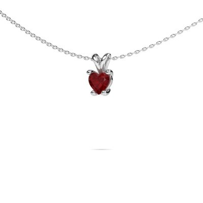 Photo de Collier Sam Heart 585 or blanc rubis 5 mm