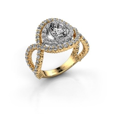 Ring Chau 585 goud zirkonia 7x5 mm
