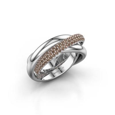 Foto van Ring Trinity 2 950 platina bruine diamant 0.885 crt