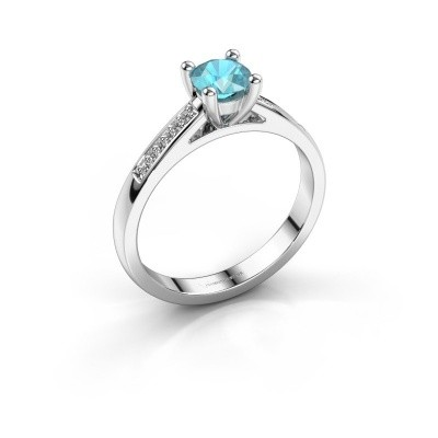 Engagement ring Nynke 950 platinum blue topaz 4.7 mm