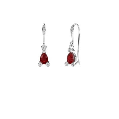 Picture of Drop earrings Bunny 2 375 white gold ruby 7x5 mm