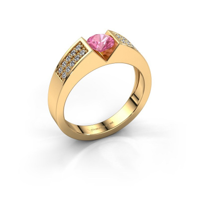 Engagement ring Lizzy 3 585 gold pink sapphire 5 mm