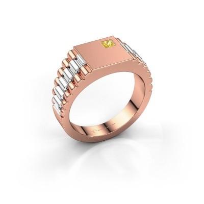 Foto van Heren ring Pelle 585 rosé goud gele saffier 3 mm
