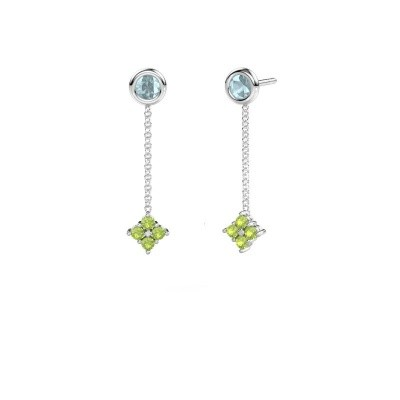 Picture of Drop earrings Ardith 585 white gold peridot 2 mm