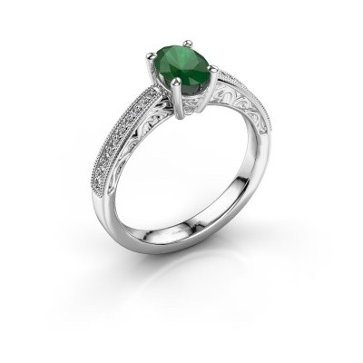 Picture of Engagement ring Shonta OVL 925 silver emerald 7x5 mm