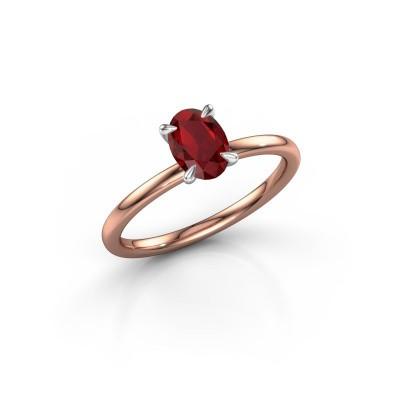 Foto van Verlovingsring Crystal OVL 1 585 rosé goud robijn 7x5 mm