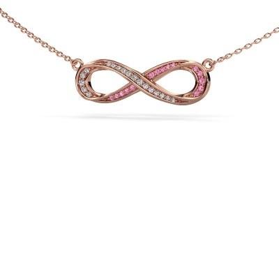 Collier Infinity 2 375 rosé goud roze saffier 0.8 mm