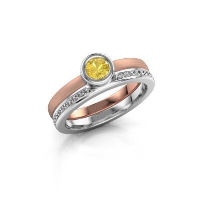 Foto van Ring Cara 585 rosé goud gele saffier 4 mm