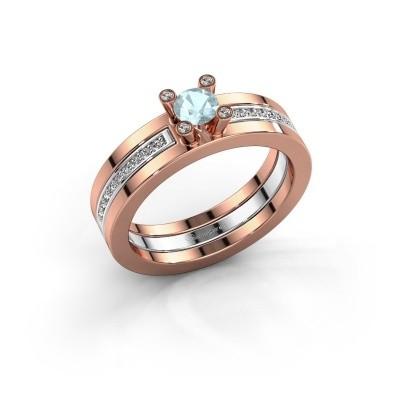 Foto van Ring Alisha 585 rosé goud aquamarijn 4 mm