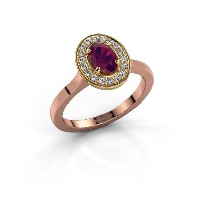 Foto van Ring Madelon 1 585 rosé goud rhodoliet 7x5 mm