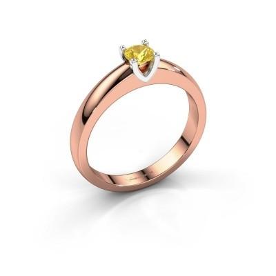 Foto van Verlovingsring Isabella 1 585 rosé goud gele saffier 4 mm