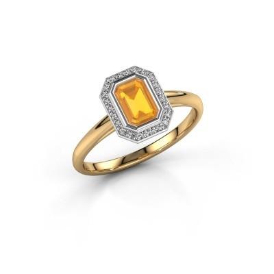 Verlovingsring Noud 1 EME 585 goud citrien 6x4 mm
