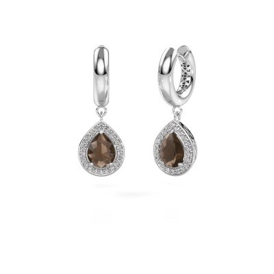 Picture of Drop earrings Barbar 1 585 white gold smokey quartz 8x6 mm