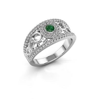 Verlovingsring Lavona 585 witgoud smaragd 3.4 mm