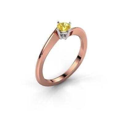 Foto van Verlovingsring Ingrid 585 rosé goud gele saffier 4 mm