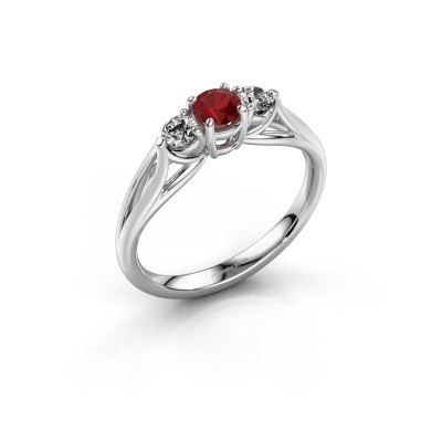 Picture of Engagement ring Amie RND 585 white gold ruby 4.2 mm