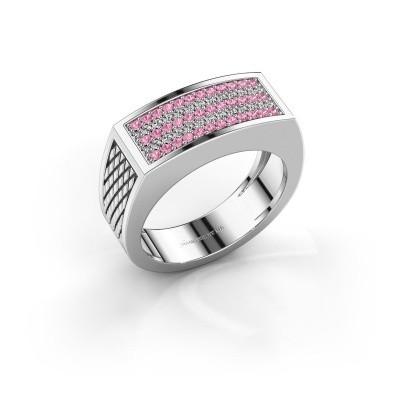 Heren ring Erwin 950 platina roze saffier 1.2 mm