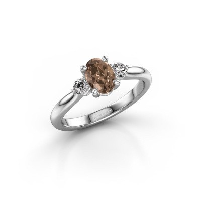 Picture of Engagement ring Lieselot OVL 950 platinum brown diamond 0.76 crt