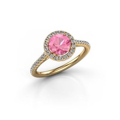 Foto van Verlovingsring Marty 2 375 goud roze saffier 6.5 mm