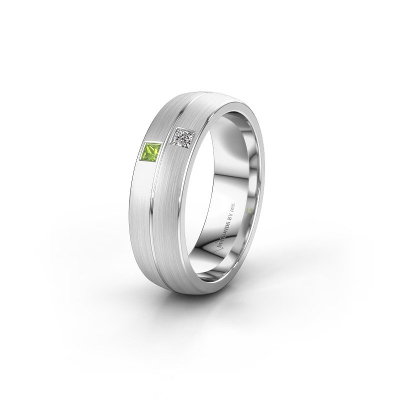 Wedding ring WH0250L26BM 585 white gold peridot ±0.24x0.08 in