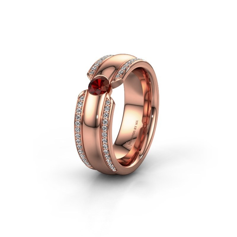 Wedding ring WHR0575L 375 rose gold garnet ±0.28x0.08 in