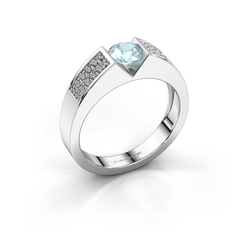 Engagement ring Lizzy 3 950 platinum aquamarine 5 mm