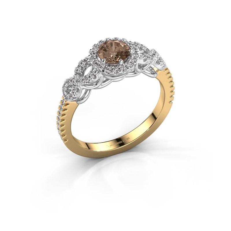 Verlovingsring Sasja 585 goud bruine diamant 0.825 crt