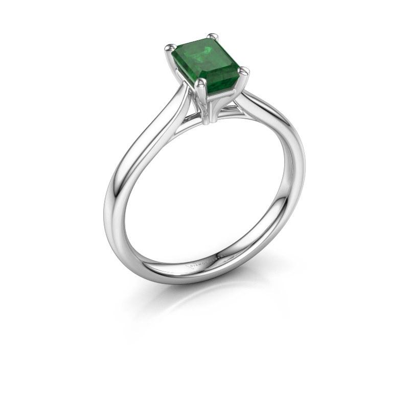 Verlovingsring Mignon eme 1 925 zilver smaragd 6.5x4.5 mm