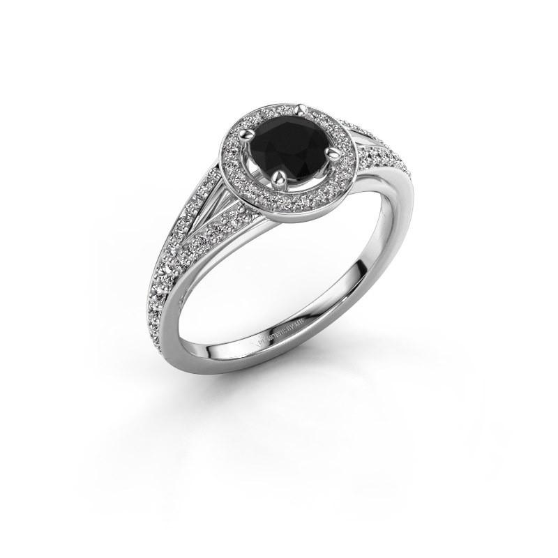 Aanzoeksring Angelita RND 950 platina zwarte diamant 0.932 crt