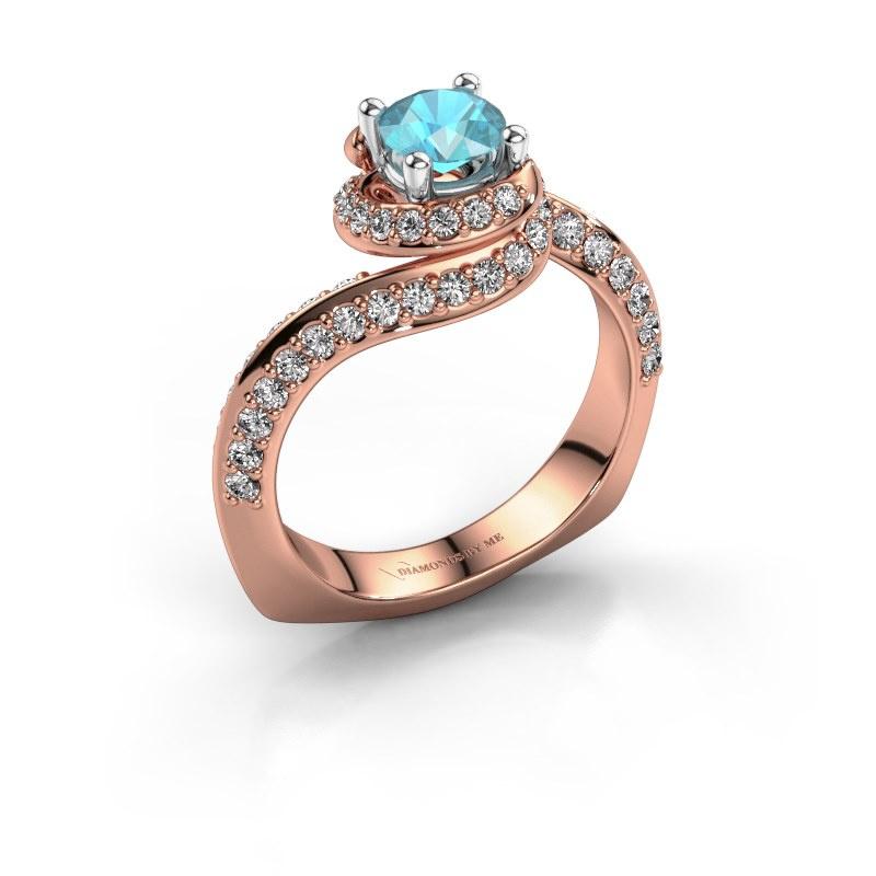 Engagement ring Sienna 585 rose gold blue topaz 5 mm