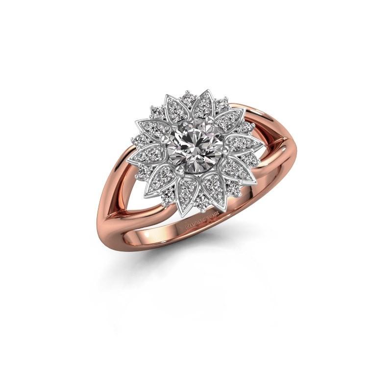 Verlovingsring Chasidy 1 585 rosé goud zirkonia 5 mm