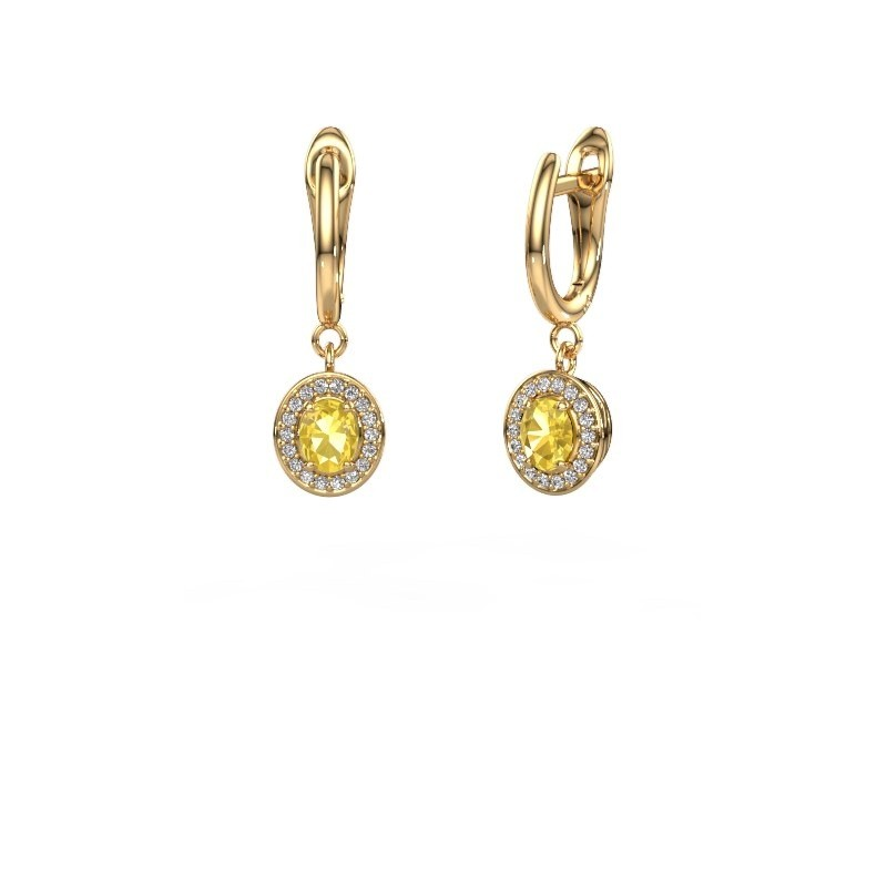 Drop earrings Nakita 375 gold yellow sapphire 5x4 mm