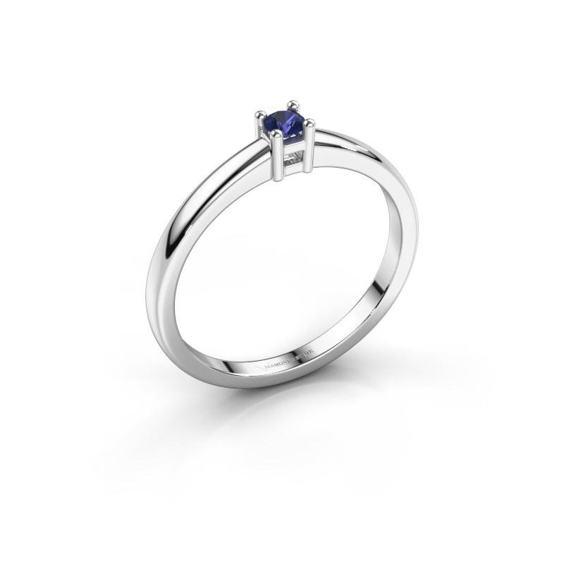 Promise ring Eline 1 585 witgoud saffier 3 mm