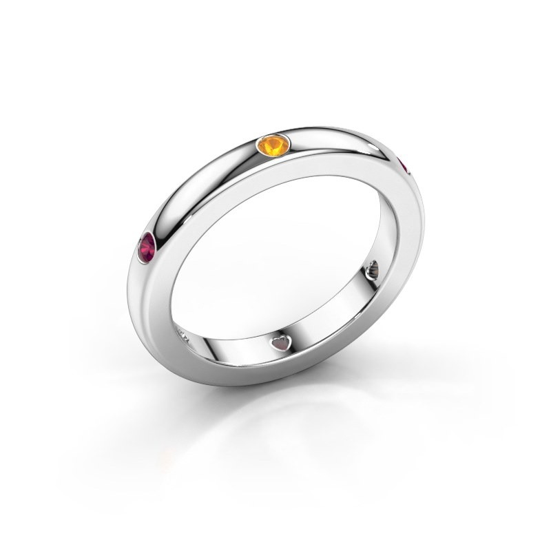 Stackable ring Charla 375 white gold citrin 2 mm