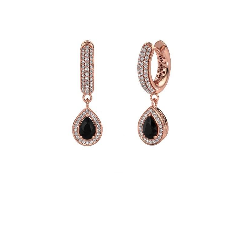 Oorhangers Barbar 2 375 rosé goud zwarte diamant 1.485 crt