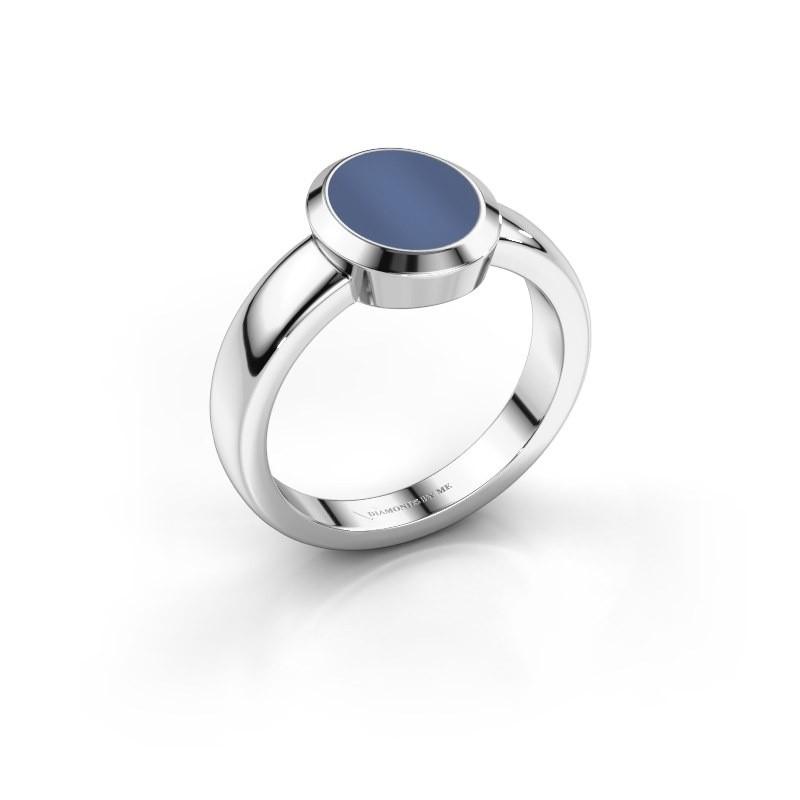 Pinkring Oscar 1 585 witgoud blauw lagensteen 10x8 mm