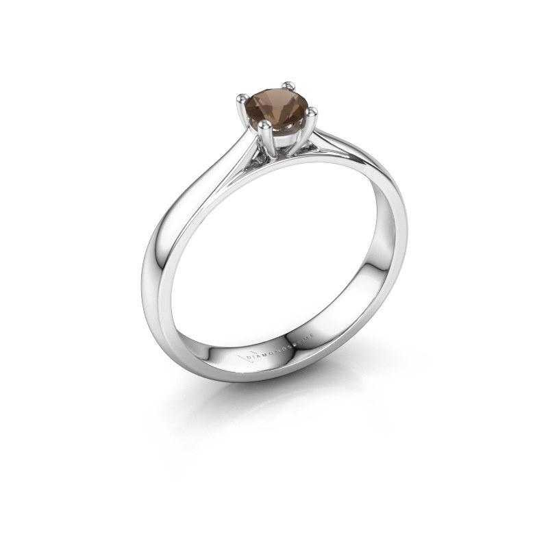 Engagement ring Sam 925 silver smokey quartz 4.2 mm