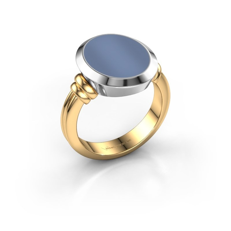 Zegelring Jake 3 585 goud licht blauwe lagensteen 15x12 mm