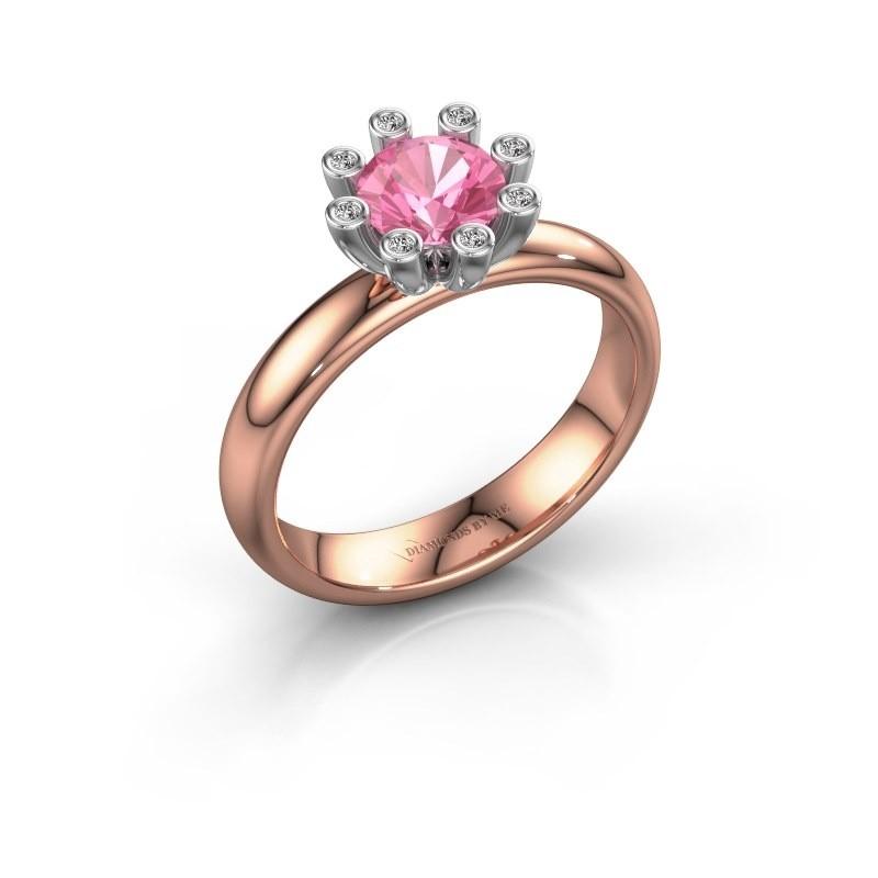 Stapelring Carola 3 585 rosé goud roze saffier 6 mm