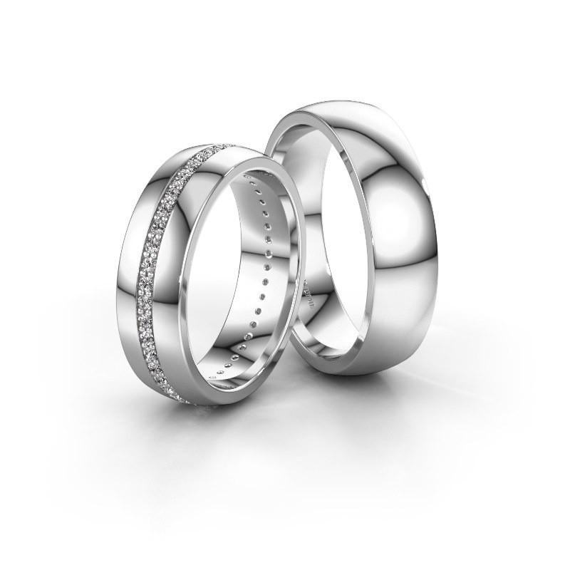Trouwringen set WH0103LM26BP ±6x2 mm 14 karaat witgoud diamant 0.44 crt