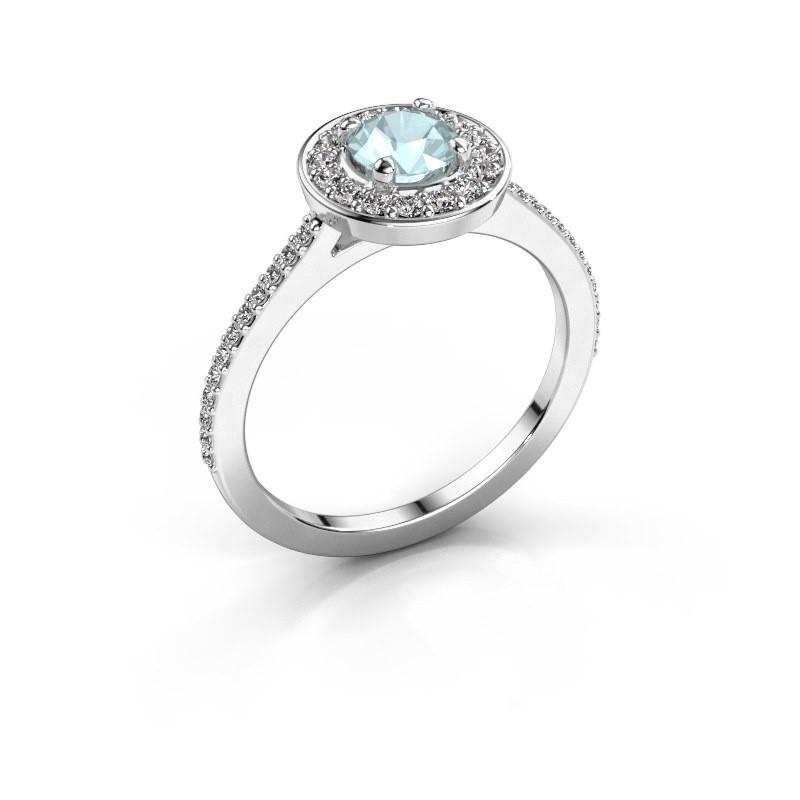 Ring Agaat 2 950 platinum aquamarine 5 mm