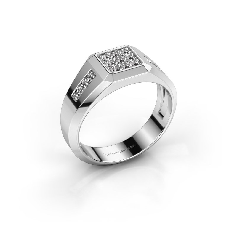 Pinky ring Bas 375 white gold zirconia 1.7 mm
