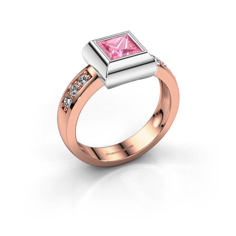 Ring Charlotte Square 585 rose gold pink sapphire 5 mm