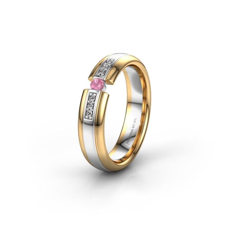 Trouwring WH2128L26C 585 witgoud roze saffier ±5x2 mm