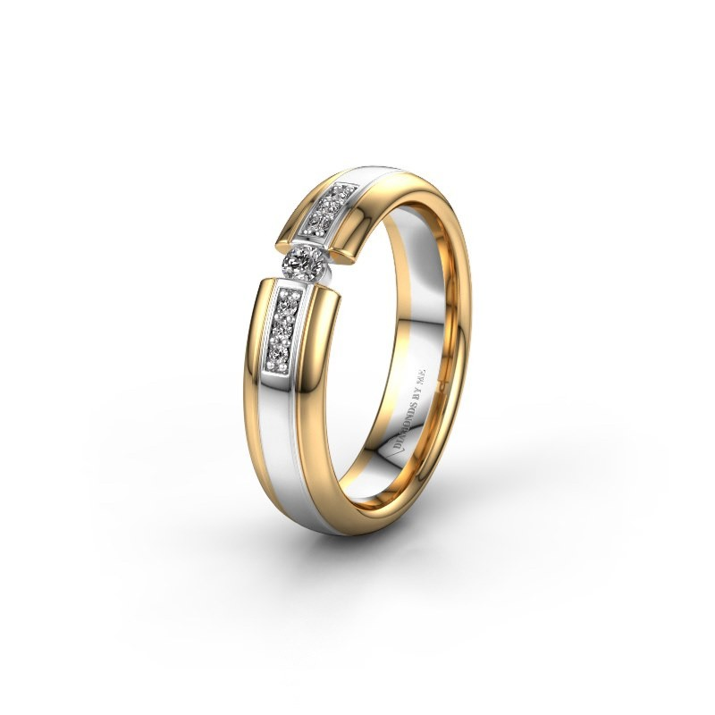 Trouwring WH2128L26C 585 witgoud diamant ±5x2 mm