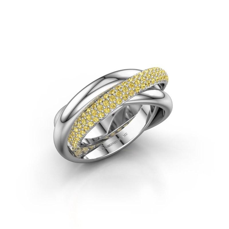 Ring Helena 2 950 platina gele saffier 1 mm