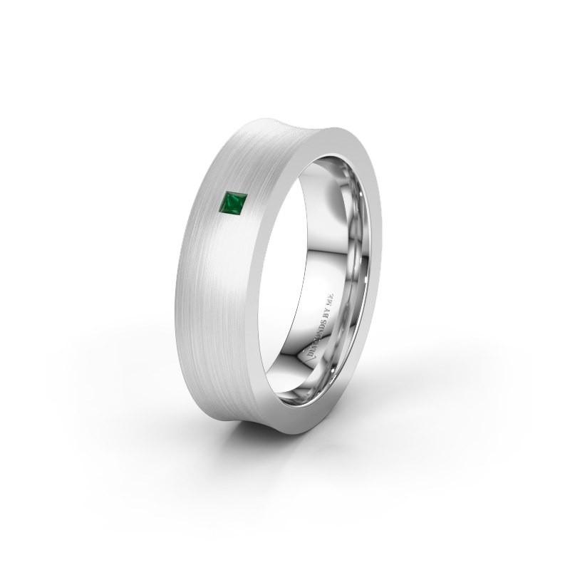 Trouwring WH2238L2 950 platina smaragd ±6x2.2 mm