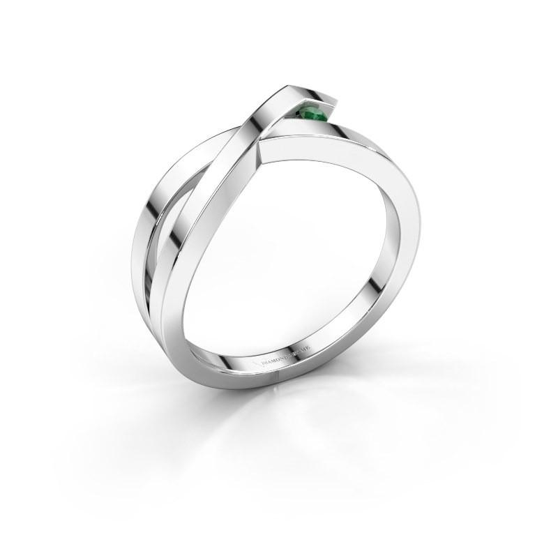 Ring Alyssa 585 white gold emerald 2 mm