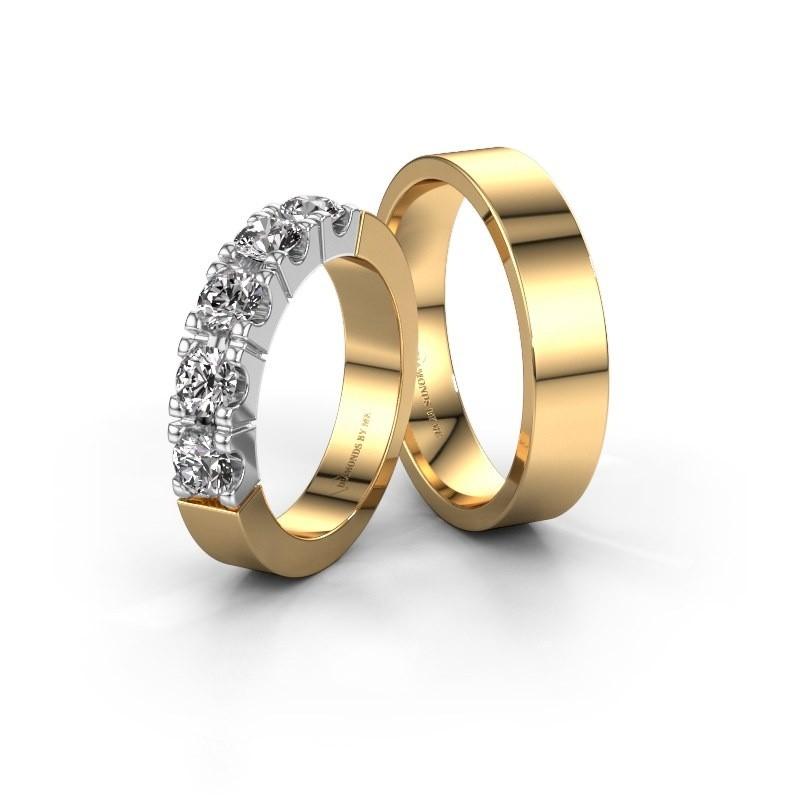 Huwelijksringen set WHR1615LM15AP ±5x2 mm 14 karaat witgoud diamant 0.10 crt