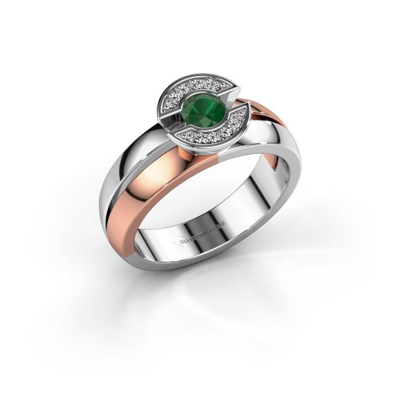 Ring Jeanet 1 585 rosé goud smaragd 4 mm